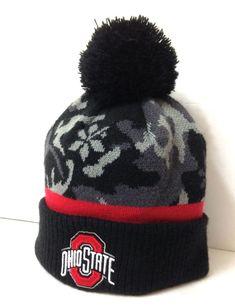reputable site bb60b b5113 OHIO STATE BUCKEYES CAMO POM BEANIE Gray Black Camouflage Winter Knit Hat  ADULT