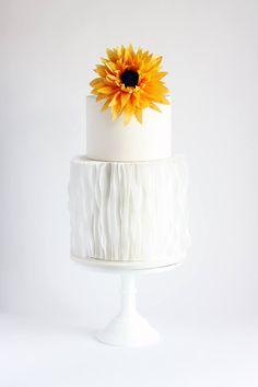 Sunflower and Ruffle cake Ruffle Cake, Wedding Cake Inspiration, Beautiful Cakes, Wedding Cakes, Dream Wedding, Flowers, Home Decor, Board, Wedding Gown Cakes