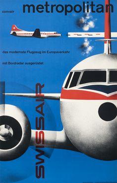 Kurt Wirth Poster: Convair Metropolitan - Swissair