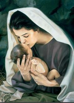 Mother Mary and Baby Jesus. Just like any mother, loving on her blessing from heaven!!!