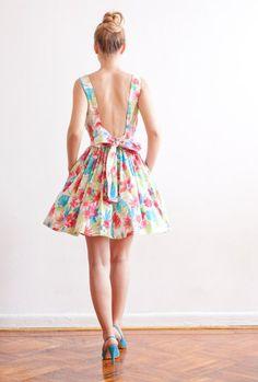 Low Back Multicolor Cotton Dress