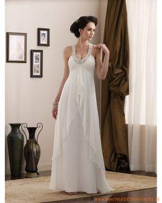Schlichtes günstige Brautmode aus Chiffon Scoopausschnitt mit Trägergurt verziertes Korsett und schichtiger Rock