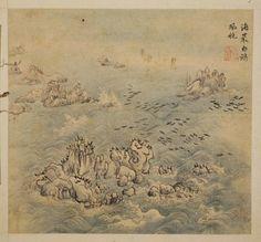 (Korea) 해금강의 경치 by Hyeonjae Shim Sa-jeong (1707-1769). ca 18th century CE. color…