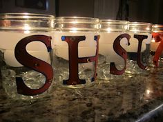 Mason Jar Ribbon Candles (with letters)