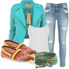 """""""blue leather jacket, w/ toms and a tank"""" by bellalee2000 on Polyvore"""