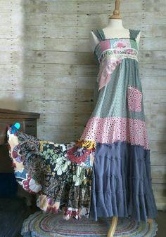 Pink Sunshine Shabby floral patchwork anthropologie inspired