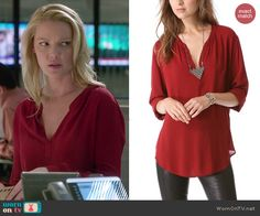 Charlie's red long sleeved blouse on State of Affairs.  Outfit Details: http://wornontv.net/41831/ #StateofAffairs