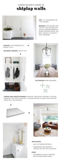 How to Get Fixer Upper Style With Shiplap: Syd and Shea McGee of Studio McGee are here with an inspired guide to help you achieve the ideal shiplap look for your home. Studio Mcgee, Web Design, Home Design, Interior Design, Design Package, Muebles Living, Plank Walls, Ship Lap Walls, Basement Remodeling