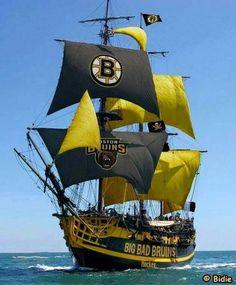 Ahoy, Bruins sailing to Carolina through the hurricanes Bateau Yacht, Bateau Pirate, Boston Bruins Hockey, Chicago Blackhawks, Old Sailing Ships, Boston Strong, Boston Sports, Tall Ships, Ship Art
