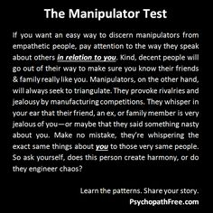 manipulators vs empathetic people | The Manipulator Test #psychopath