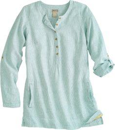 Artisan hemp tunic, light teal stripe