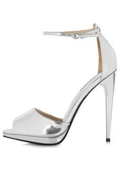 58e3f038375a Topshop Ria Two Part Sandals in Silver - Lyst