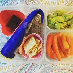 School lunch: Friday...so all bets are off! @eatwholly guacamole, organic carrots and pepper slices, brown rice crackers, homemade banana smoothie pop from the freezer (will defrost by lunchtime and hopefully not explode all over my daughters upon opening. Fingers crossed!) and a square of dark chocolate. #schoollunch #lunchbox #healthykids #TGIF #superstartshere