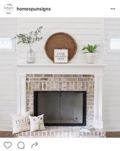 White Painted Fireplace: Before & After Fireplaces can be one of the most beautiful, anchoring pieces in any room. They're grand, warm, inviting & often the centerpiece of the room. While there are many styles of fireplaces, we… White Painted Fireplace, Brick Fireplace Makeover, Paint Fireplace, Farmhouse Fireplace, Fireplace Design, Fireplace Ideas, White Wash Brick Fireplace, Shiplap Fireplace, Renovate Fireplace