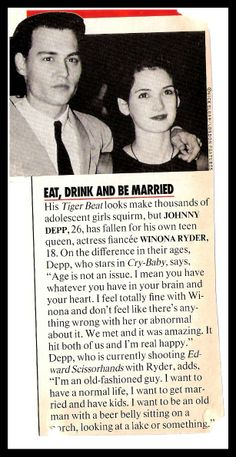 an old magazine clipping Winona and Johnny Johnny Depp Winona Ryder, Young Johnny Depp, Johnny Depp Quotes, Johnny Depp Movies, Johnny Depp Wallpaper, John Depp, Winona Forever, Tim Burton Characters, Old Magazines
