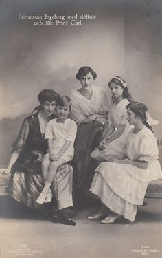 Princess Ingeborg of Sweden with her children. Ingeborg was the mother of Queen Astrid of Belgium and Crown Princess Märtha of Norway