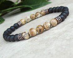 Men's Strength Bracelet, Picture Jasper & Matte Black Onyx, Male Gemstone Stretch Bracelet, Mala Jewelry, Yoga Bracelet, Tibetan Jewelry