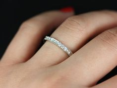 Gabriella 14kt White Gold Round and Baguette Bars Diamond WITH Milgrain Almost Eternity Band  1088 USD