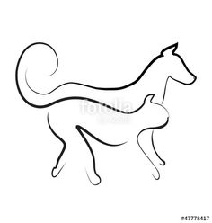 """Baixe o vetor royalty free """"Cat and dog walking together logo vector"""" desenhado por glopphy com o menor preço no Fotolia.com. Navegue no nosso banco de imagens online barato e encontre vetores stock perfeitos para seus projetos de marketing!"""