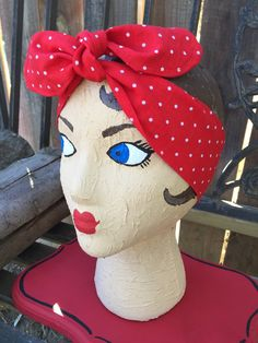 Dolly bow headband red and white polka dot holiday Christmas bow pinup rockabilly