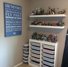 Boys Lego Star Wars room with Ikea Lego trofast organizers and Lego display
