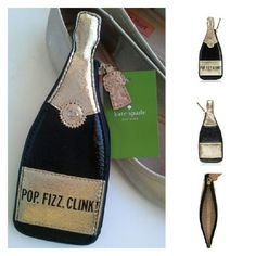 Kate Spade Pop Fizz Clink Champagne Coin Purse Brand new still in its Kate Spade shipping box! This is the Bubble Over Pop Fizz Clink Champagne Coin Purse. For stashing pennies, your credit cards, your ids, your secret love notes... smooth leather, capital kate spade jacquard lining, 14-karat light gold plated hardware. Gold and black. Features zipper closure, cork zipper pull. From katespade.com. kate spade Bags