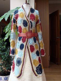 Crochet Multicolour Woman's Jacket