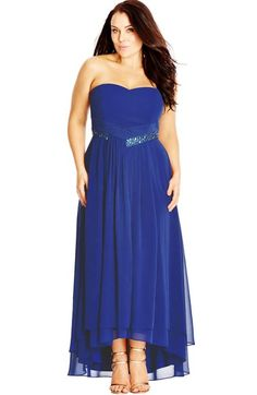 City Chic 'Beaded Dream' Strapless Chiffon Gown (Plus Size) available at #Nordstrom