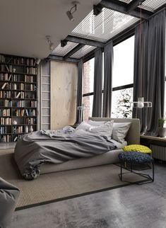 Спальня в  цветах:   Белый, Светло-серый, Серый, Темно-коричневый, Черный.  Спальня в  стиле:   Лофт.
