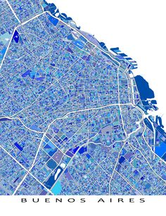 Do you love Buenos Aires, #Argentina South America? Then this Buenos Aires map art print will look great on your wall! This city #map has a modern, abstract art design made from of lots of little blue and turquoise shapes. Each shape is actually a city block or a piece of land - and these shapes combine like a puzzle or mosaic to form this #BuenosAires map. #SouthAmerica #travel