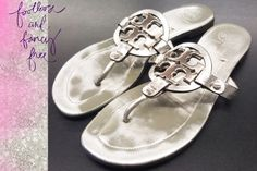 """Tory Burch """"Miller"""" in Silver!  - These are super hard for us not to buy these... But our Posh girls come first!!! Adorable Miller sandal from Tory Burch is a must have! Hurry up and get it before these won't last long!  Retail $225 SP $54 #toryburch #millersandal designer #Socute #Musthave #obsessed #Fav #shop #simplyposh #consignment #boutique"""
