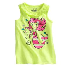 Beiars cotton kids baby infants girl sleeveless t-shirt mermaid sea horse tee