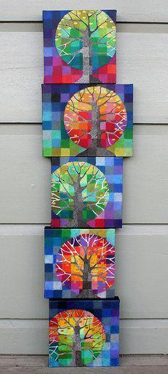 Precioso árbol pintado en una cuadricula de 8x8. Colores cálidos y fríos.