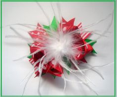 $7 Christmas Feather Hair Bow