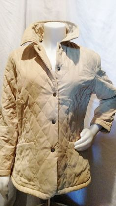 Barbour Quilted Jacket Size 6 gold yellowish mustard tan small winter coat EUC  #Barbour #QuiltedJacket
