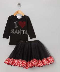 Take a look at this Black 'I Love Santa' Tee & Tutu - Infant, Toddler & Girls by The Princess and the Prince on #zulily today!