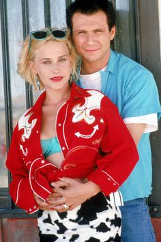 """""""True Romance"""" Directed by Tony Scott / starring Christian Slater, Patricia Arquette, Dennis Hopper & Val Kilmer - love this film! True Romance, Romance Movies, Iconic Movies, Good Movies, Best Red Lipstick, Red Lipsticks, Tony Scott, Patricia Arquette, Christian Slater"""
