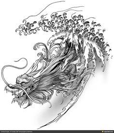Dragon d& fraîche . - Dragon d& fraîche Más - Dragon Phoenix, Dragon Oriental, Dragon Project, Japanese Dragon Tattoos, Asian Dragon Tattoo, Arrow Tattoo, Dragon Face, Et Tattoo, Water Dragon