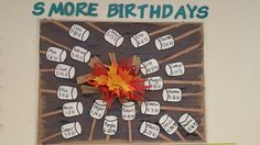 Summer smores preschool birthday bulletin board More Preschool Birthday Board, Preschool Boards, Birthday Wall, Preschool Activities, Preschool Classroom, Camping Bulletin Boards, Daycare Bulletin Boards, Birthday Bulletin Boards, School Themes