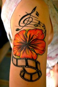 If we would still remember this old time - it would be gold - music tattoo with a flower, a music sheet and a music tape #musictattoo