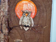 Vintage OWL Painting on Wood Signed Libby by retrosideshow on Etsy