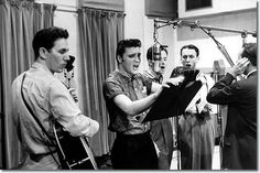In the studio with Chet Atkins, Elvis Presley, Gordon Stoker, and Ben and Brock Spear, April 14, 1956.