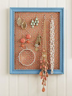 You may not be able to get them Tiffany's, but you can make them an adorable (and affordable) jewelry holder. A decorative metal screen doubles as a custom jewelry organizer when painted and cut to fit inside a salvaged frame. Use a staple gun to attach the screen to the back of the frame.
