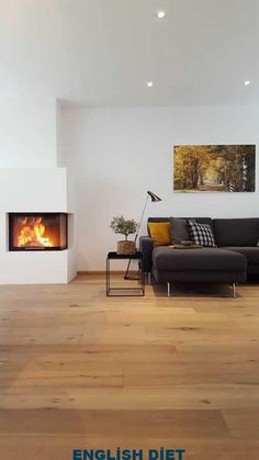 After a long time I lit the fireplace again. I could spend hours … – Fireplace Home Fireplace, Living Room With Fireplace, Fireplace Design, Home Living Room, Living Room Designs, Best Interior, Interior Design, House Design, Home Decor