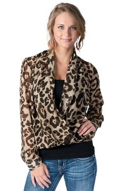 RD Style® Women's Brown Leopard Print Chiffon with Crossed Front Long Sleeve Fashion Top