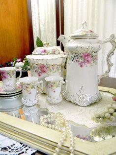 Antique Chocolate Pot - Biscuit Jar - 3 Demi Cups .
