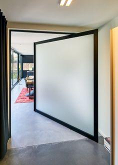 "Glass ""Steel Look"" pivot door offset axis hinges with matte glass Pivot Doors, Sliding Doors, My Ideal Home, Glass Door, My House, Oversized Mirror, Modern, House Design, Shopping"