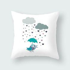Kids throw pillow with bird, decorative throw pillow, children cushion cover, nursery throw pillow, home decor, kids pillows, kids bedding