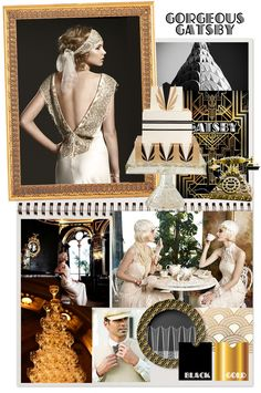 Great Gatsby wedding inspiration from i do it yourself. Gold, black art deco 1920s wedding ideas