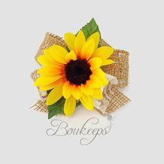 Sunflower Corsage with Burlap Bow and Ivory Lace Sunflower Corsage Sunflower Wedding Rustic Wedding Country Wedding Wristlet Corsage Sunflower Corsage, Sunflower Boutonniere, Sunflower Bouquets, Sunflower Weddings, Modern Wedding Flowers, Wedding Hair Flowers, Mauve Wedding, Orange Wedding, Burgundy Wedding